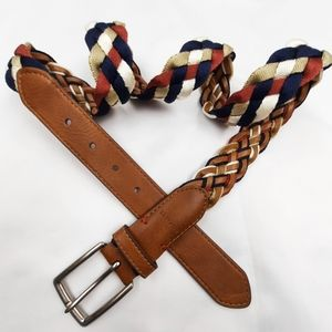 Tommy Hilfiger blue white red tan braid belt 38/95 BIF faux leather handcrafted